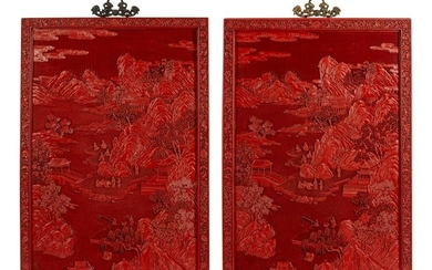 A Pair of Chinese Carved Red Lacquer Panels