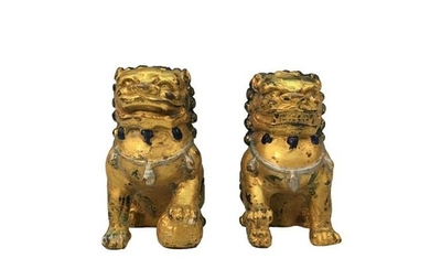 A Pair of Chinese Gilt Bronze Lion Figure