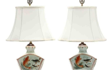 A Pair of Contemporary Chinese Porcelain Table Lamps
