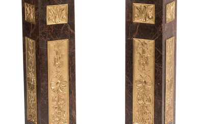 A Pair of French Gilt Bronze Mounted Marble Pedestals