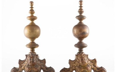 A Pair of Gilt Metal Chenets (19th century)
