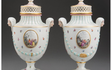 A Pair of Meissen Polychrome and Partial Gilt Porcelain Covered Urns (20th century)