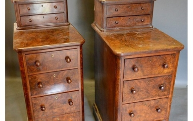 A Pair of Victorian Burr Walnut Bedside Chests, each with tw...