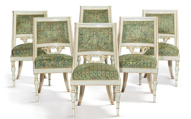 A SET OF SIX ITALIAN NEOCLASSICAL WHITE PAINTED AND PARCEL-GILT SIDE CHAIRS, EARLY 19TH CENTURY