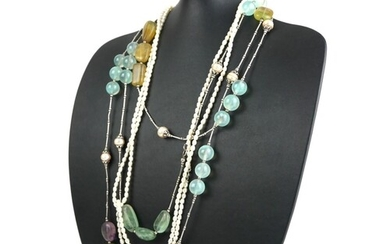 A SILVER, GEMSTONE AND PEARL SET NECKLACE Light green stones...