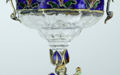 A Viennese style gilt bronze mounted enamel and crystal tazza