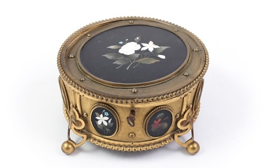A gilded brass and hard stone casket, G.Torrini manufacture