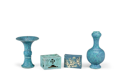 A group of four robin's egg blue miniature porcelains