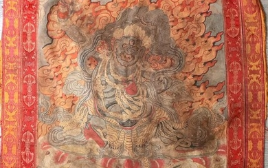 A large embroidered Chines/Tibetan wall hanging. Qing dynasty
