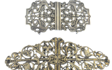A late Victorian silver buckle and a later silver buckle.