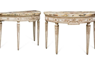 A pair of Italian Neoclassical console tables
