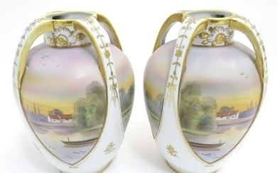 A pair of Japanese Noritake three handled vases with
