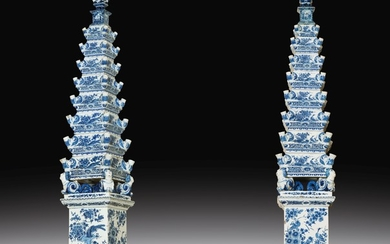 A pair of large Dutch-Delft earthenware obelisks or pyramids, late 17th century, circa 1695-1700