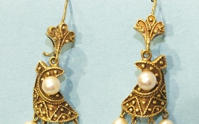 A pair of unusual pendant earrings, each with a pearl-set ca...