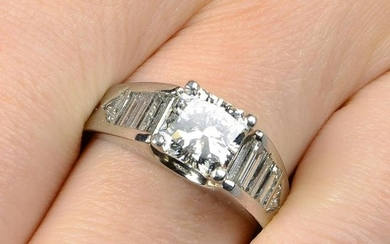 A square-shape diamond single-stone ring, with