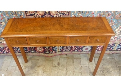 A walnut five drawer hall table, 78cm tall x 107cm x 30cm - ...