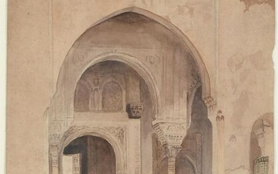 19TH CENTURY WATERCOLOR PAINTING ALHAMBRA