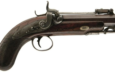 AN 18-BORE PERCUSSION TRAVELLING BAYONET PISTOL BY