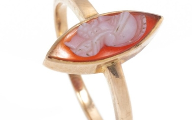 AN ANTIQUE 18CT GOLD HARDSTONE CAMEO RING; set with a carved sardonyx cameo of a centurion, size N, wt. 2.47g.