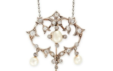 AN ANTIQUE PEARL AND DIAMOND PENDANT NECKLACE, EARLY