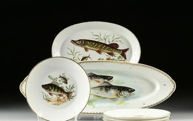 AN ASSEMBLED SIX PIECE GROUP OF FISH DECORATED