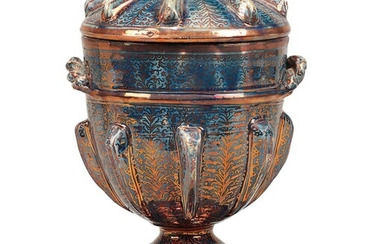AN HISPANO-MORESQUE BLUE AND COPPER-LUSTRE VASE AND COVER, 19TH CENTURY