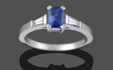 An 18 Carat White Gold Sapphire and Diamond Three Stone...