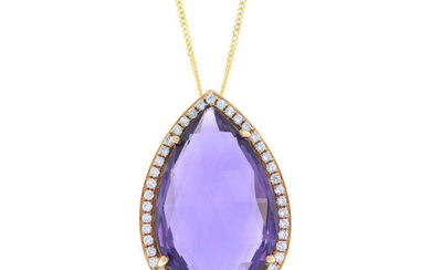 An 18ct gold amethyst and brilliant-cut diamond pendant, with an 18ct gold chain.