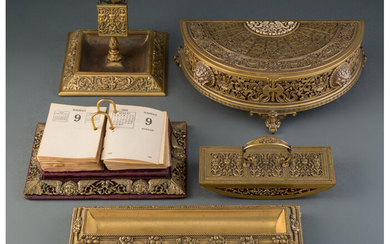 An American Five-Piece Assembled Gilt Bronze Desk Set in the Style of E. F. Caldwell & Co. (early 20th century)