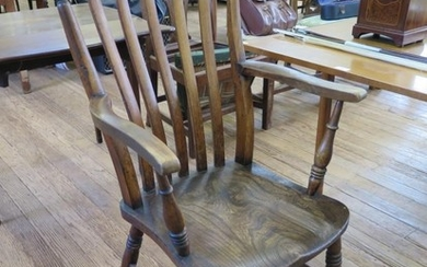 An ash and elm rail back kitchen armchair, with ring turned ...