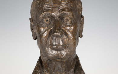Ann Scott - a late 20th century brown patinated cast bronze bust portrait of Peter Sebley, inscribed
