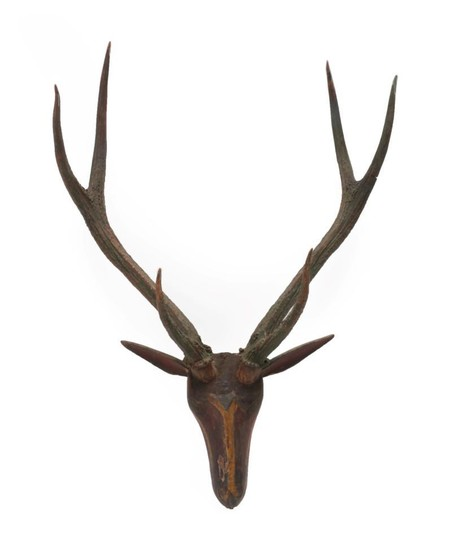 Antlers/Horns: A South East Asian Polychrome Painted and Carved Wooden...