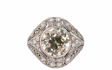 Art Deco Platinum, Colored Diamond, and Diamond Ring