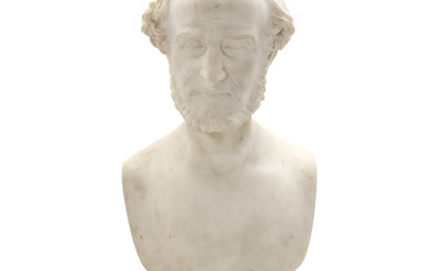 August Wilhelm Saabye: Portrait of Frederik Hammerich. A white marble bust. Signed and dated A. W. Saabÿe fecit 1881 and inscribed Fr. Hammerich. H. 70 cm.
