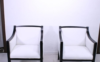 Pair Black Art Deco Style Chairs