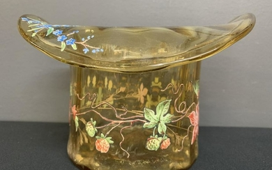 Blown Glass Top Hat, Hand Painted Flowers, Monaco