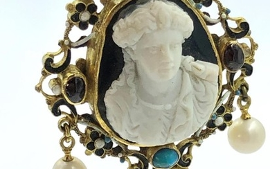 C18th reversable pendant, central carved agate in a pierced ...