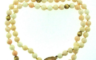 CLASSIC 14k Yellow Gold & Angel Skin Coral Beaded
