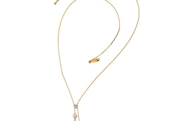 CULTURED PEARLS AND DIAMONDS CHOKER. 18K YELLOW AND WHITE GOLD