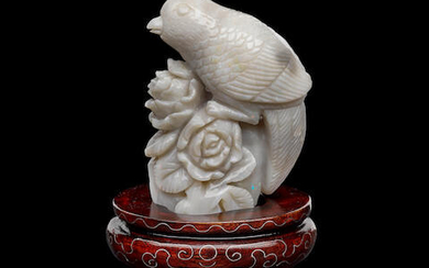 Carved Opal Bird with Rose on Wooden Base