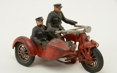 Cast iron Hubley Indian motorcycle with sidecar and