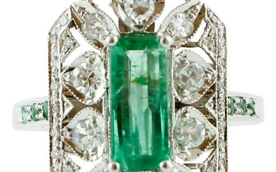 Central Emerald, Diamonds, White Gold Retro Ring