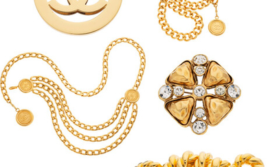 Chanel Set of Six: Necklace, Brooches, & Belts Condition:...
