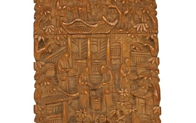 Chinese Cantonese Sandalwood Visiting Card Case 19th C