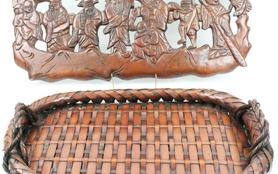 Chinese Carved Wooden Panel, Basket
