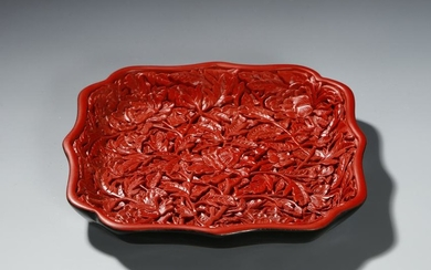 Chinese Cinnabar Lacquer Lobed Tray