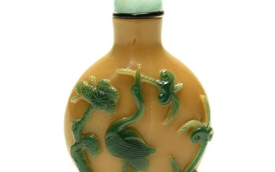 Chinese Green Overlay Yellow Peking Glass Snuff Bottle.