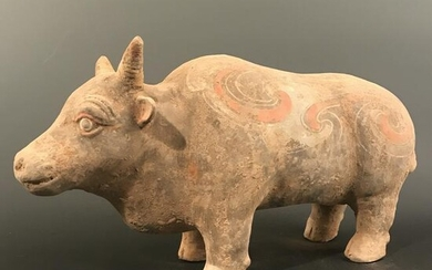 Chinese Han Style Colored Pottery Buffalo 7'' H