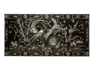 Chinese Lacquer Mother Pearl Chinoiserie 4 Panels