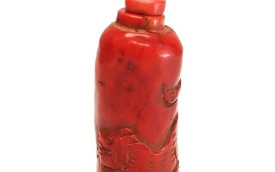 Chinese Red Coral Carved Dragon Snuff Bottle